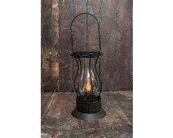 Primitive Lantern With Timer Candle in Rustic Brown, Latch Lantern