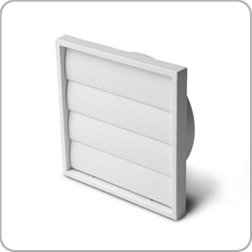 150mm diameter gravity flap wall grille, white plastic, kitchen ventilation