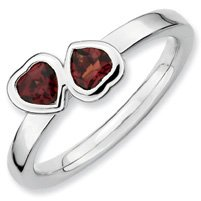 0.63ct Silver Stackable Garnet Double Heart Ring Band. Sizes 5-10