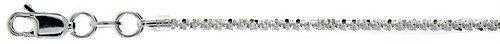 "Sterling Silver Popcorn Sparkle Rock Italian Necklace Chain 2Mm 22"""