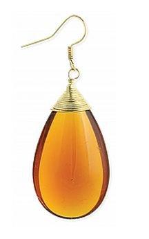 Zad Amber Glass Teardrop Pair of Earrings Drop Dangle Gold Tone