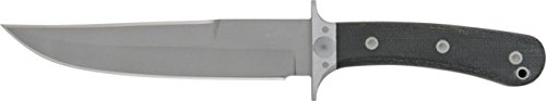Entrek Force Recon Fixed Blade Knife, 7in, Stainless Blade, Black Canvas Micarta Handle