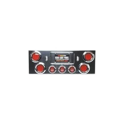 Roadpro Rear Light Panel With 4 4 &amp 3 2.5 LED Lights and Chrome ABS Plastic Visors - Roadpro RP-21499LED