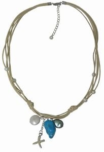 Natural leather cord necklace with freshwater pearls, turquoise and sterling silver charms. Necklace is 16