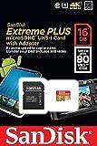 SanDisk SDSDQX-016G-U46A Extreme PLUS microSDHC 16GB UHS-I Class 10 U3 Speicherkarte bis zu 80MB/Sek. lesen