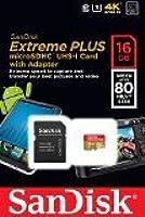 SanDisk MicroSDHC Extreme PLUS 16 Go Classe 10 UHS-I U3 avec une Vitesse de Lecture allant jusqu'à 80 Mo/s (SDSDQX-016G-U46A) [Ancienne Version] Carte Mémoire