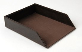 Buy Faux Leather Stackable Document Tray- Brown
