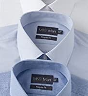 "3 Pack 2"" Shorter Easycare Plain & Gingham Shirts"