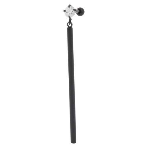 Piercing Line acciaio chirurgico Ear piercing Rod crystal, Acciaio inossidabile, colore: Nero, cod. SO367-SB-KK