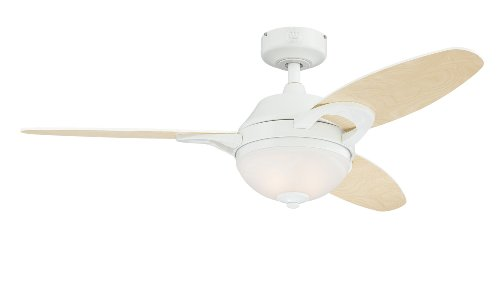 Westinghouse Lighting 7869100 Arcadia Two-Light 46-Inch Reversible Three-Blade Indoor Ceiling Fan, White with Frosted White Alabaster Glass