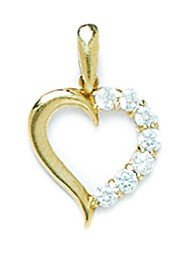 14k Yellow Gold CZ Heart Pendant - Measures 18x12mm - 18 Inch - JewelryWeb