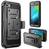 iPod Touch 6th Generation Case, [Heave Duty] i-Blason Apple iTouch 5/6 Case Armorbox [Dual Layer] Hybrid Fullbody Case w Front Cover and Builtin Screen Protector/Impact Resistant Bumper (Black) (Color: Black)