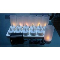 ProSource Rechargeable Tea Light Tealight Candles (No Batteries Necessary) – With Frosted Holder Votives