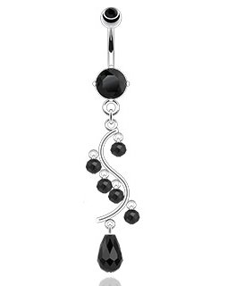 Gekko Body Jewellery Surgical Steel 14 Gauge (1.6mm) Prong Set Black CZ Gem Belly Bar with Bead Vine Dangle
