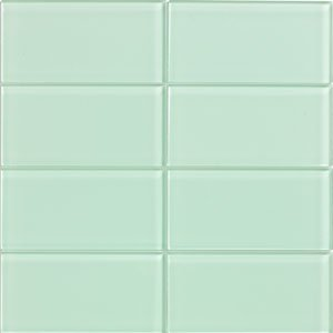 "Modwalls 3x6"" Subway Tile - Light Green Lush Surf Glass Tile"