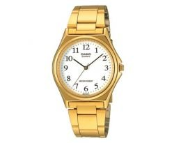 Casio Mtp1130 3-hand Analog Mens Fashion White Face Gold Metal Band Watch