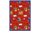 "Joy Carpets Kid Essentials Language & Literacy Spanish Bookworm Rug, Red, 5'4"" x 7'8"""