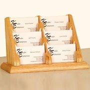 Wooden Mallet 6-Pocket Countertop Business Card Holder, Light Oak