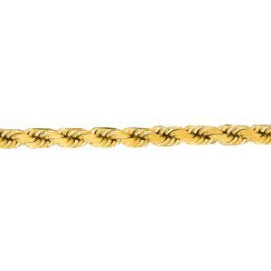 10K Solid Yellow Gold Diamond Cut Rope Chain Necklace 3.5mm thick 22 Inches
