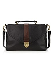 M&S Collection Leather Push Lock Satchel Bag