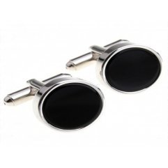 Black Raised Circular Silver Cufflinks