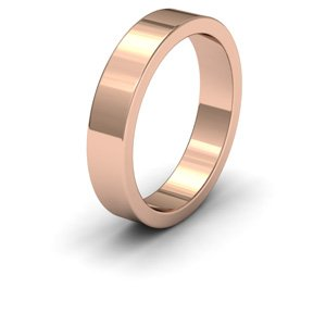 9ct Rose Gold, 4mm Wide, Flat Shape Heavy Weight Wedding Ring