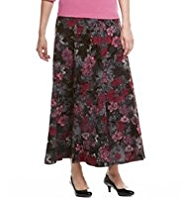 Classic Flock Floral Panelled Skirt
