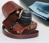 MegaGear 'Ever Ready' Protective Leather Camera Case, Bag for Olympus OM-D E-M10 with 14-42mm (Dark Brown)
