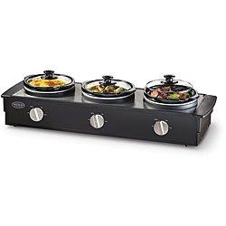 Living by Nostalgia TSC250BLK 2.5-Quart Triple Slow Cooker Buffet