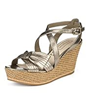 Autograph Leather Half Bow Wedge Sandals with Insolia®
