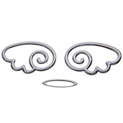 Cool 3D Angel Wings Chrome Car Logo/ Symbol/ Mark/ Signs Universal Sticker (Silver)