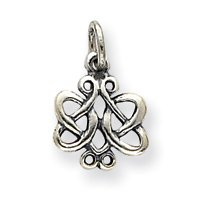 Sterling Silver Antiqued Scroll Celtic Knot Charm - JewelryWeb