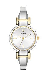 Bulova Bangle Collection Polished Steel Silver Dial Women's watch #98L140