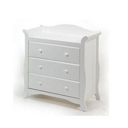 White 3 Drawer Chest front-219621