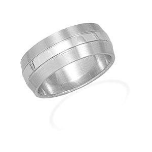 Stainless Steel Men's Ring with Brushed Edges / Size 13