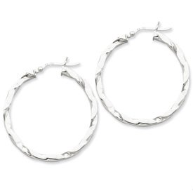 Genuine IceCarats Designer Jewelry Gift Sterling Silver Flattened Twist 35Mm Hoop Earrings