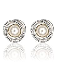 Faux Pearl Twisted Knot Stud Earrings