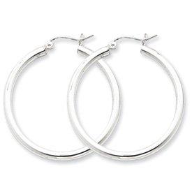 Sterling Silver 2.5mm Round Hoop Earrings - JewelryWeb