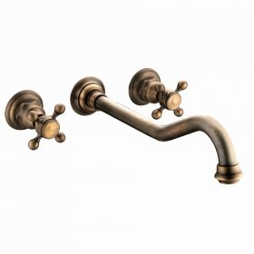 Two Handles Antique Brass Wall-mount Bathroom Sink Taps