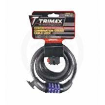 TRIMAX TRC12 RESETTABLE COMBINATION CABLE LOCK (6 feet long x 12mm) MOTORCYCLE / BICYCLE - NEW
