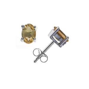 Sterling Silver, Citrine Earrings (7.00 mm x 5.00 mm)