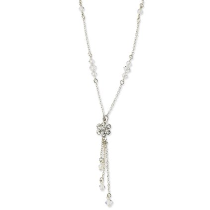 Silver-tone Crystal Flower Y Drop 16 Inch Extension Necklace - JewelryWeb