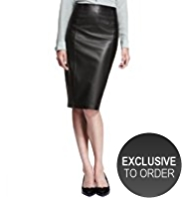 Autograph Leather Panelled Pencil Skirt