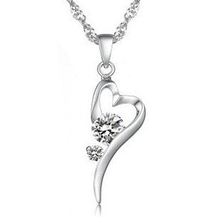 Real Platinum Plated High Quality Cubic Zircon White Butterfly Pendant Necklace
