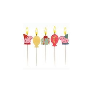 5 Peppa Pig Party Candles & pack of 10 Peppa