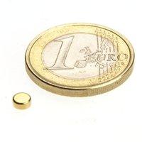 Scheibenmagnet Ø 4,0 x 2,0 mm N45 Gold - hält 450 g