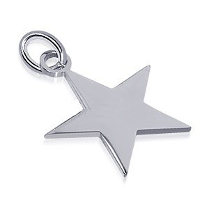 genuine sterling silver high polish star charm pendant