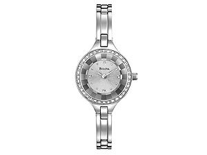 Bulova 96L177 Ladies Stone Set Silver Dial Watch