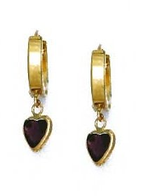14ct Yellow Gold 6 mm Heart Purple CZ Drop Earrings