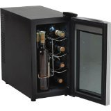 Sale!! AVANTI 8 BOTTLE THERMOELECTRIC WINE COOLER - BLACK CABINET W/STAINLESS STEEL FRONT FINISH AND...